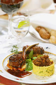 Couscous with grilled meat — Stock Photo