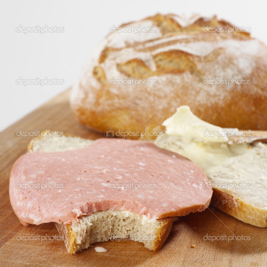 Bread with sausage — Stock Photo #1180015
