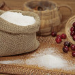 Sugar and cranberries — Stock Photo