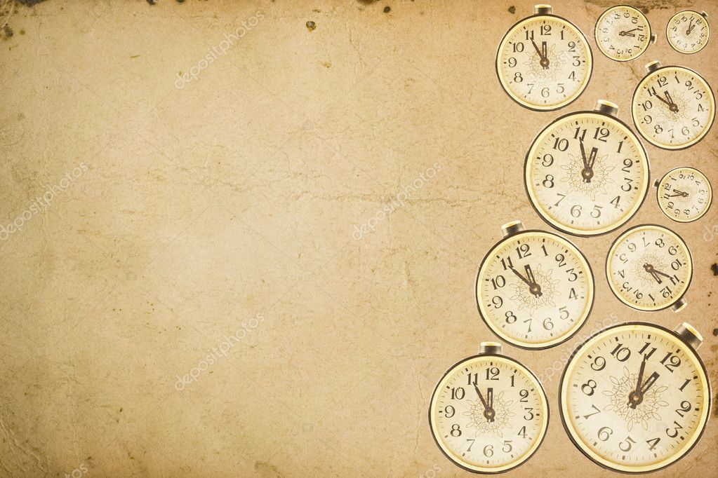 Texture of old paper with a picture of the old clock — Stock Photo #1807093