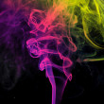 Colored smoke, black background — Stock Photo