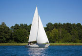 Yacht on the lake, Lithuania — Stock Photo
