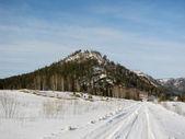 Estrada de montanha de inverno — Foto Stock