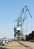 Port crane ship — Stock Photo