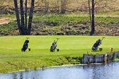 Tre golf cart — Foto Stock