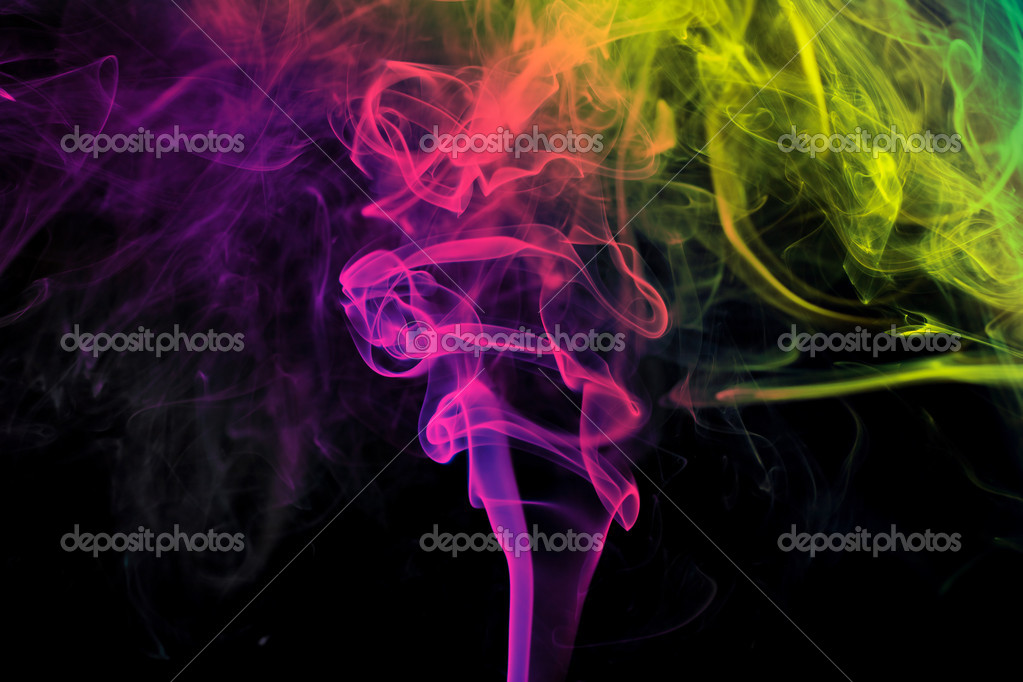 Colors on Black Background Colored Smoke Black