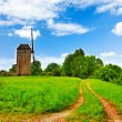 Stock Photo: Rural landscape road windmill