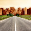 Highway heading to the city — Stock Photo