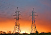 Power line at sunset — Stock Photo