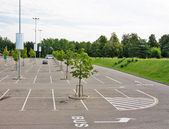 Empty parking lot near the supermarket — Stock Photo