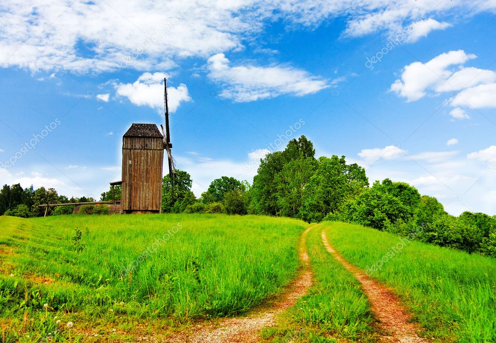 Rural landscape road windmill — Stock Photo #1091420
