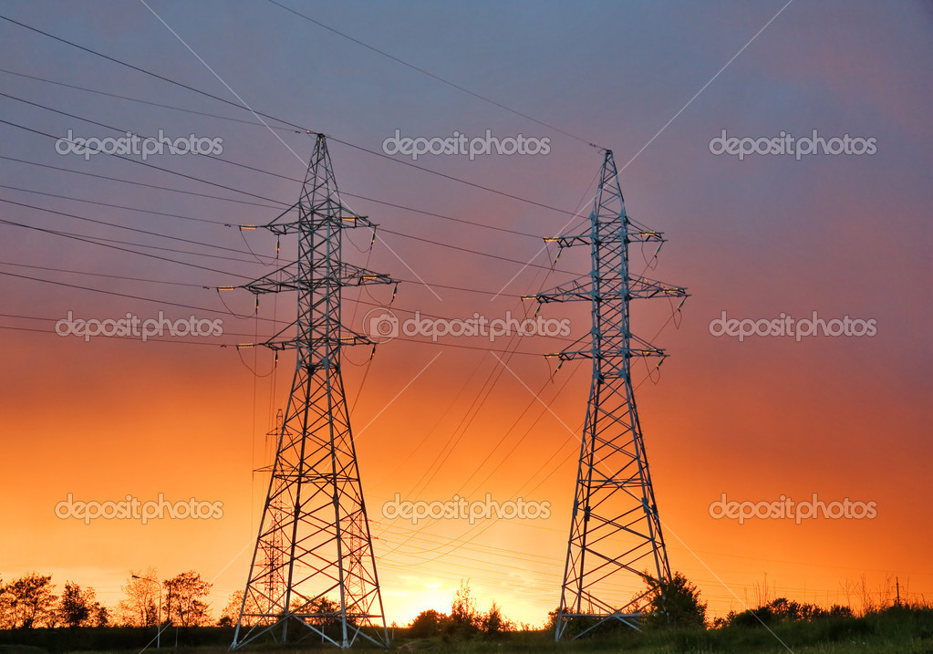 Power line at sunset  Foto Stock #1091485