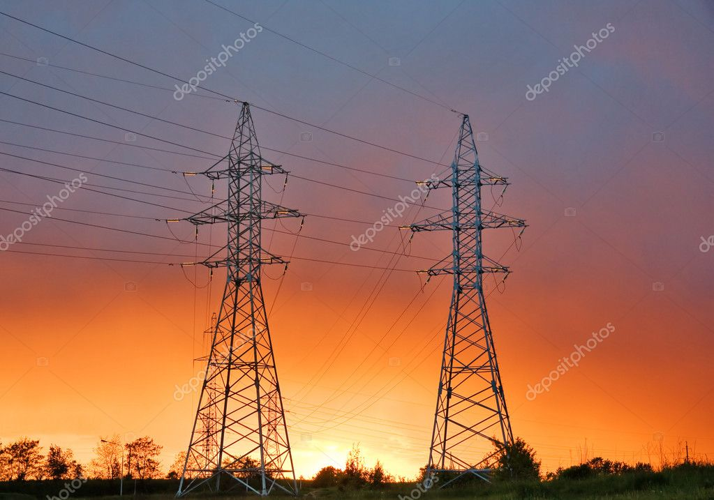Power line at sunset  Stockfoto #1091485