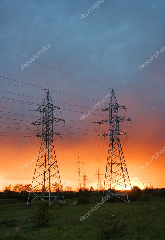 Power line at sunset — Stock Photo #1091497