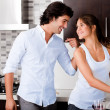 Stock Photo: Young couple in the kitchen