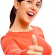 Happy Young Lady Showing Thumb — Stock Photo
