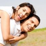 jeune couple ferroutage — Photo
