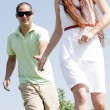 Couples Running At Park — Stock Photo