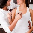 Couple enjoying their wine — Stock Photo
