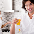 Young man smile with juice — Stock Photo