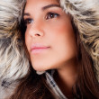 Closeup girl wearing woolen hat — Stock Photo