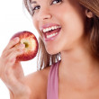 Healthy girl smiling with apple — Stock Photo #1148325