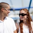 Couple looking each other at the harbour — Stock Photo #1149140