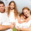 Caucasian happy family in the park — Photo