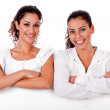 Close up portrait of two business women — Stock Photo