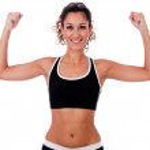 Woman raising her hands doing exercises — Stock Photo