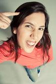 Ausdrücke junge Dame denken — Stockfoto