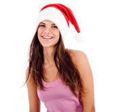 Women wearing santa's hat — Stock Photo