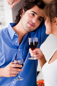 Man looking his wife with wine — Stock fotografie