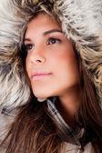 Closeup girl wearing woolen hat — Stock Photo