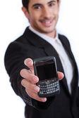 Mobile phone on focus — Stock Photo