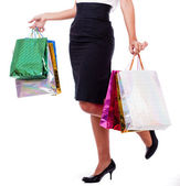 Women holding shopping bags halflength — Stock Photo