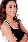 Fitness kvinna med händerna vikas — Stockfoto