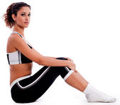Fitness outfits sitting on the floor — Stock Photo