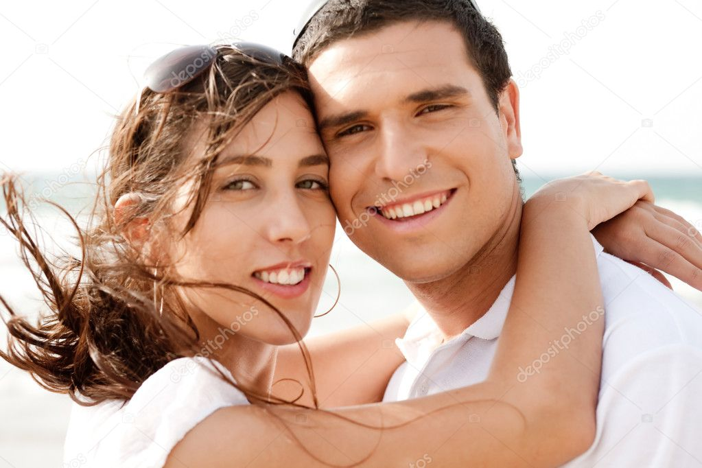 Closeup Portrait Of A Cute Couple Hugging , Outdoor  Stock Photo #1143086