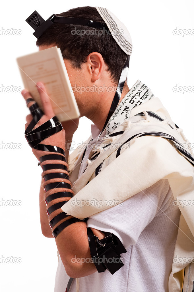 Jewish men praying on isolated background  Stock Photo #1143879