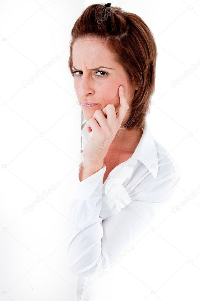 Beautiful young caucasian woman thinking about something on isolated background — Stock Photo #1146918