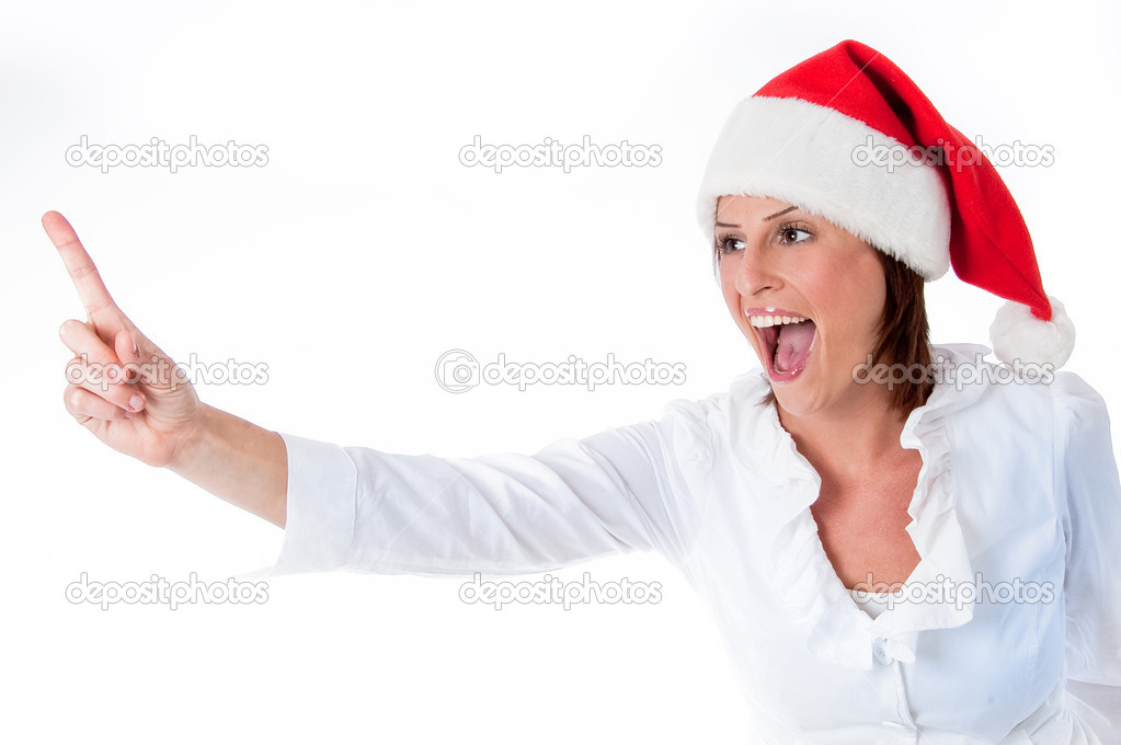 Festive blond women pointing up at copy space over white background — Stock Photo #1147183