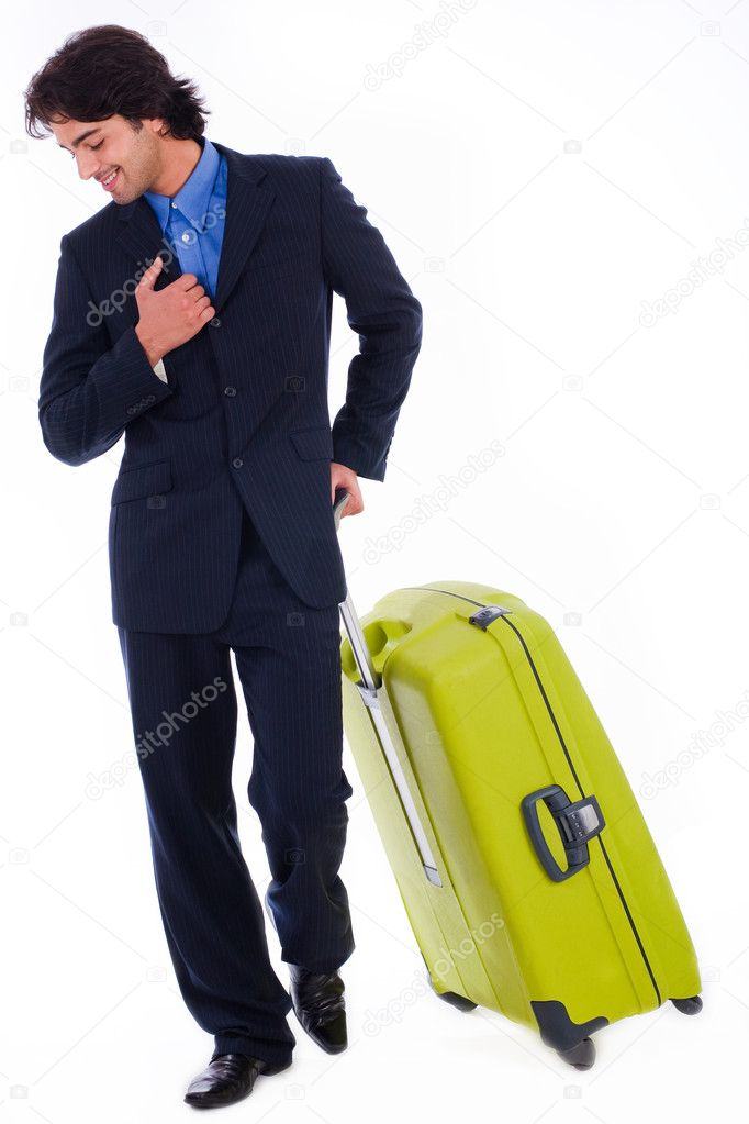 Corporate man looking down with is luggage on isolated white background  Stock Photo #1147845