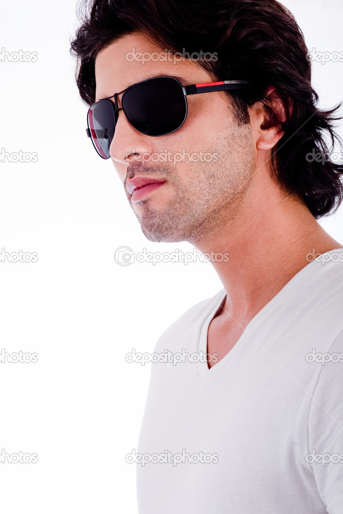 Portrait of young man with black sunglasses on white isolated background — Stock Photo #1147889