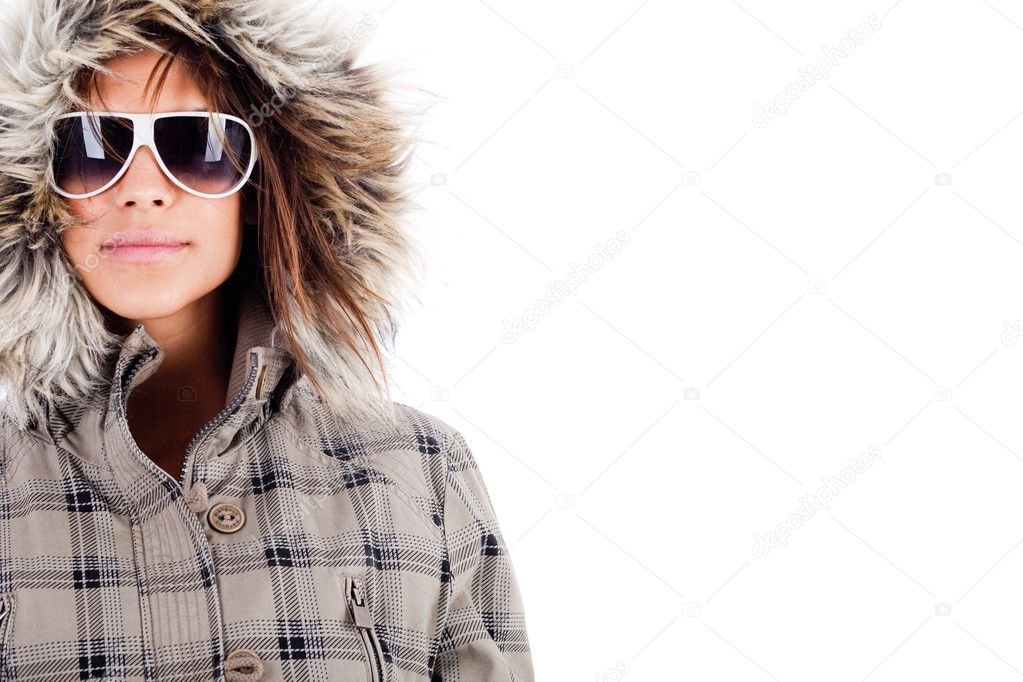Italian fashion model wearing woolen top on isolated white background — Stock Photo #1148250