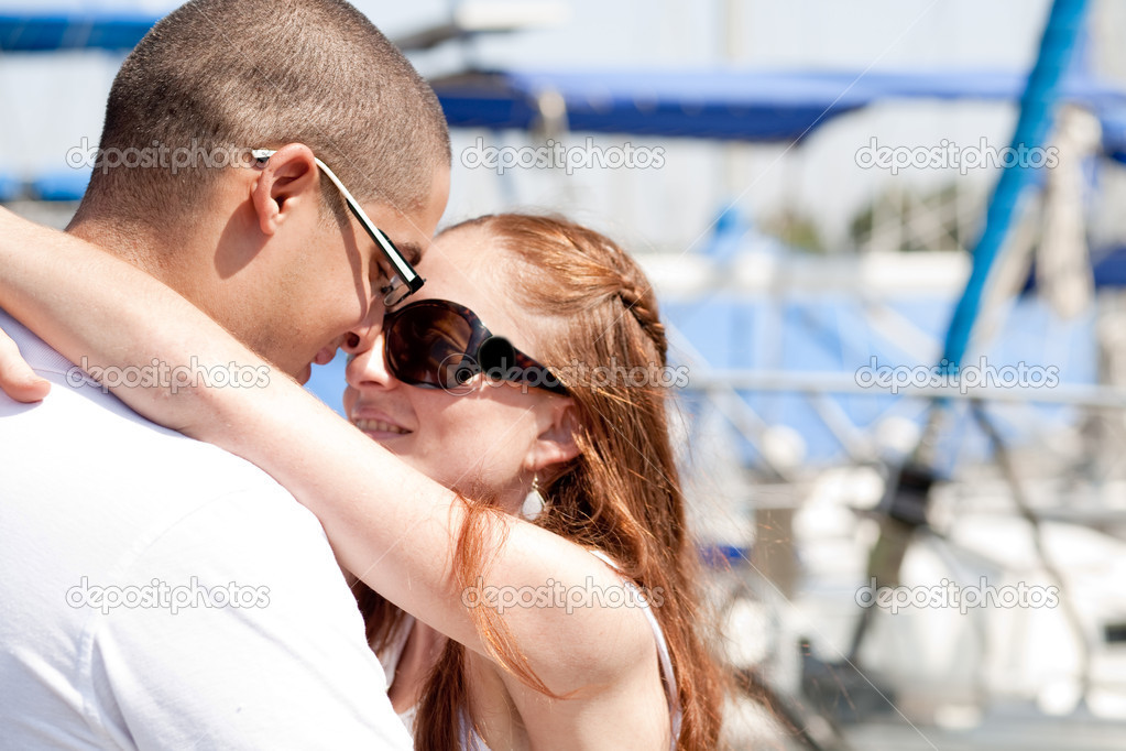 Close up of young couple making their love in harbor — Stock Photo #1149110