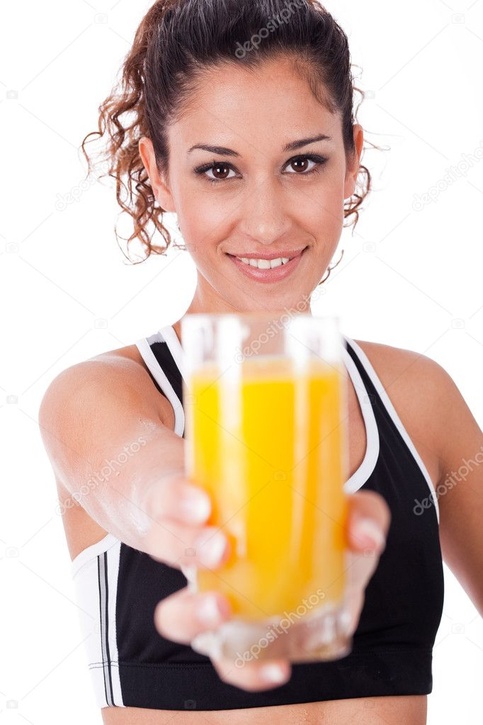 Fitness girl showing a fresh juice,focus on girl on a white isolated background — Stock Photo #1149539