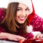 Santa girl smiling — Stock Photo