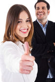 Business colleague with thumbsup — Stock Photo