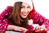 Santa girl smiling — Stock fotografie